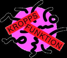 bilden visar kroppsfunktions logga som är en rosa cirkel med svarta streckgubbar i. På bilden står det kroppsfunktion i svart text med röd bakgrund.
