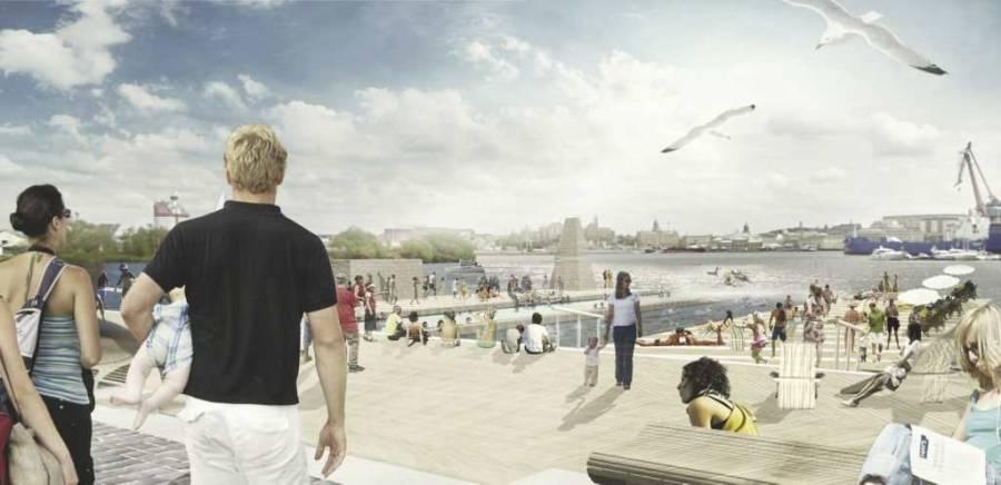 bilden visar en badplats.