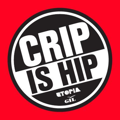 """att runt märke i svart och vitt. I det står det """"grip is hip"""" och under i mindre text står det utopia GIL. Bakom märket är det en röd bakgrund."""